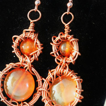 Carnelian/Copper Earrings with woven wire by LesleyPridgen on Etsy