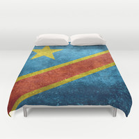 National flag of the Democratic Republic of the Congo, Vintage version (to scale) Duvet Cover by LonestarDesigns2020 - Flags Designs +