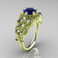 Nature Classic 18K Green Gold 1.0 Ct Blue Sapphire Diamond Orchid Engagement Ring R604-18KGGDBS
