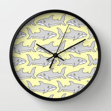 Shark Bites Wall Clock by tzaei | Society6