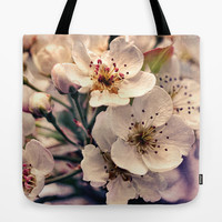 Blossoms at Dusk - vintage toned & textured macro photograph Tote Bag by Micklyn