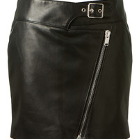 SAINT LAURENT BLACK LEATHER SHORT SKIRT