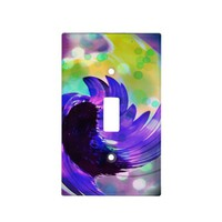 Purple Sunflower Swirl Light Switch Plate