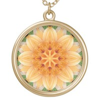Abstract Orange and Green Kaleidoscope Flower Necklace