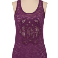 Lace back cutout hacci tank