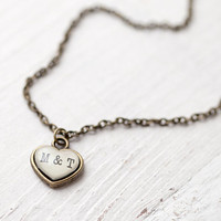 Tiny Initials necklace Personalized heart jewelry by BeautySpot