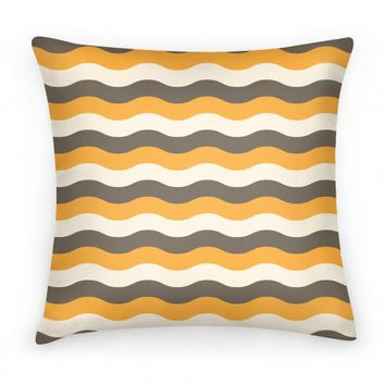 Orange Cream Grey Pillow