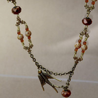Brass Bird Beaded Necklace by LesleyPridgen on Etsy