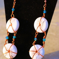 Copper Teal White Dangle Earrings by LesleyPridgen on Etsy