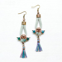 Green Gypsy Earrings, Rope Dangle Earrings, Agate and Tassel Chandeliers, Seafoam, Jade, Emerald