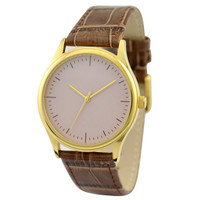 Minimalist Watch Beige in gold case