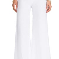 Enza Costa Linen Wide Leg Pant in White