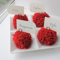 Red yarn pom pom place holders by imeondesign on Etsy