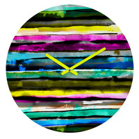 Watercolour Stripes Round Clock