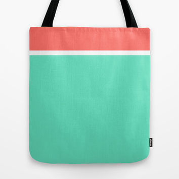 Coral/White/Teal Stripe Tote Bag by Bethany Mallick