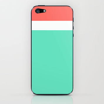 Coral/White/Teal Stripe iPhone & iPod Skin by Bethany Mallick