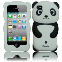 Cute Lovely Black Panda 3d Soft Silicone Skin Gel Cover Case for Iphone 4/4s + Screen Protector + Microfiber Pouch Bag