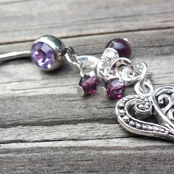 Classy Purple Heart Belly Button Ring Made With Swarovski Elements, Navel Body Piercing