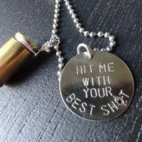 Silver and Brass Bullet Necklace Hit Me with by SugarandSoySauce