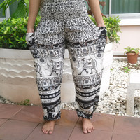 High Waist Elephant Yoga Pants Printed Casual Beach Hippie Rayon pants Gypsy Thai Batik Men Tribal Plus Size Tank Fisherman Nightwear