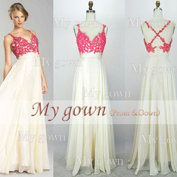 2014 Lace Prom Dress,Straps Beading Lace Chiffon Prom Dress, Wedding Dress, Evening Gown,Formal Dress,Grad Dress,Party Dress,Evening Dress