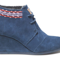 NAVY EMBROIDERED WOMEN'S DESERT WEDGES