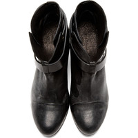 Black Wraparound Strap Harrow Boots