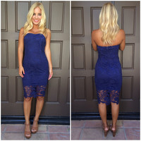 Blue Moon Crochet Midi Dress - NAVY