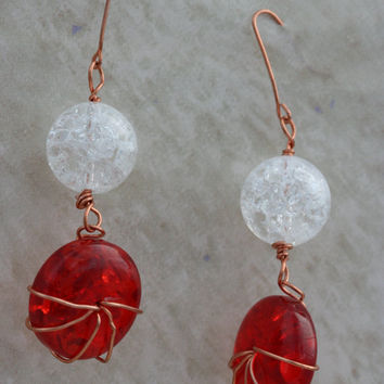 Red and Clear Crackle Glass with Copper Wire by LesleyPridgen