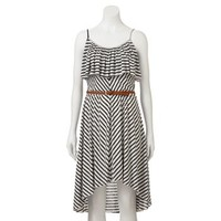Almost Famous Stripe Hi-Low Dress - Juniors