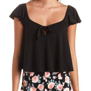 Knotted Flutter Sleeve Swing Crop Top
