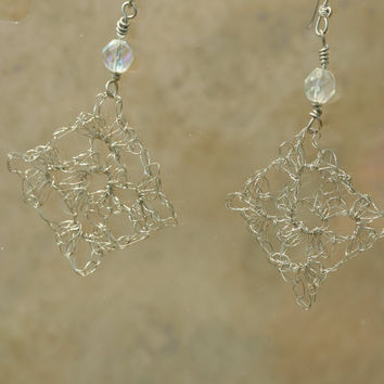 Crochet Silver Copper Wire Earrings with Crystal by LesleyPridgen
