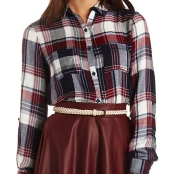 Flyaway Plaid Flannel Button-Up Tunic Top