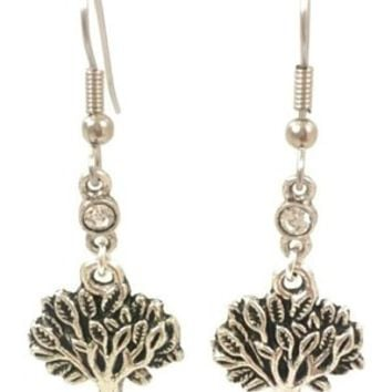 Surgical Steel Dangle Earrings Tree of Life Rhinestone Silver Color