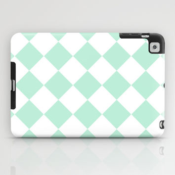 Diamond Mint Green & White iPad Case by BeautifulHomes | Society6