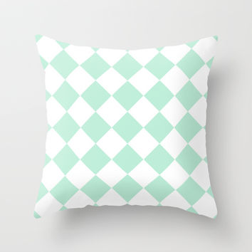 Diamond Mint Green & White Throw Pillow by BeautifulHomes | Society6