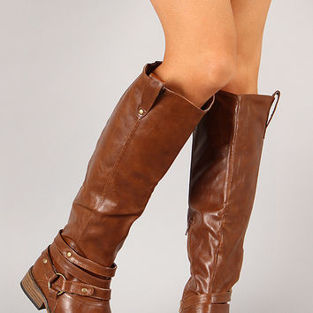 Bamboo Parksville-23 Strappy Riding Knee High Boot
