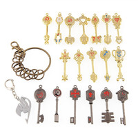 Fairy Tail of keys Blade Lucy Celestial Zodiac Spirit heart keychain 18pcs