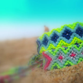 Bright Neon Handwoven Friendship Bracelet Aztec . Blue / Lime
