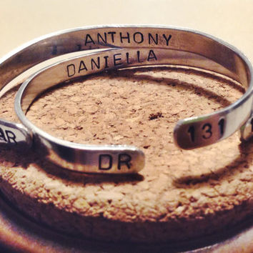 Matching Couples Personalized Hand stamped Name, Statement, Anniversary Bracelet Cuff Pair (Comes with 2 bracelets)