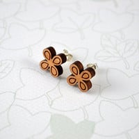 Laser Cut Cherry Wood and Sterling Silver Earring Studs - Quatrefoil Shape Flower Earrings