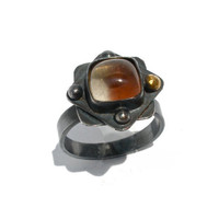 Oregon Sunstone Ring in Oxidized Sterling Silver- Size 8