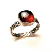 Almandine Garnet Ring in Sterling Silver- Oxblood Square Gemstone- January Birthstone- Size 6