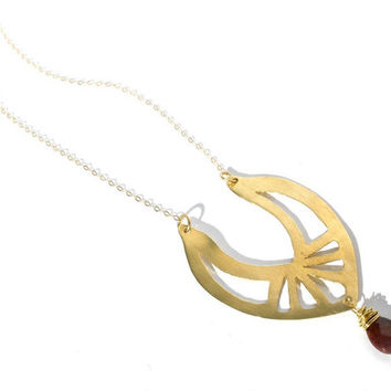 Hand Cut Art Nouveau Inspired Brass and 14k Gold Filled Necklace With Oxblood Mookaite