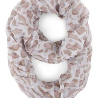 Woven Infinity Scarf with Large Leopard Print