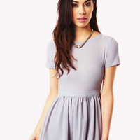 Rikki Short Sleeve Skater Dress in Grey
