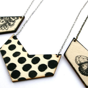 Polka Dot Necklace - Polka Dot Jewelry - Chevron Necklace - Chevron Jewelry - Lasercut  Necklace - Lasercut Jewelry - Natural Wood Jewelry