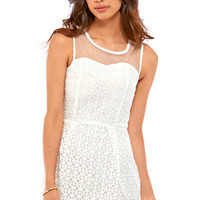 Sena Mini Dress with Sweatheart Bust Line and Mesh Detail in White