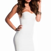 Simple White Strapless Bandage Dress