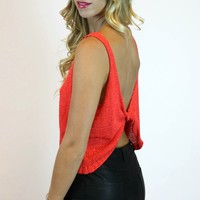 Twisted Sister Sweater Tank in Coral | En Creme